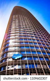 SAN FRANCISCO, CA - MAY 18, 2018: A skyward view of Salesforce Tower in San Francisco