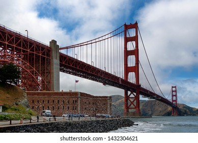 SAN FRANCISCO, CA - MAY 24 - Scene at base of Golden Gate Bridge and Fort Point in San Francisco, CA on May 24, 2019.