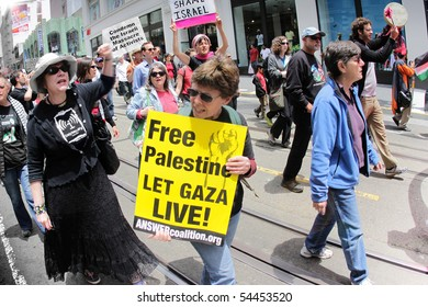 SAN FRANCISCO, CA - MAY 31: People hold protest in support of Palestinian freedom on May 31, 2010 in San Francisco, CA.