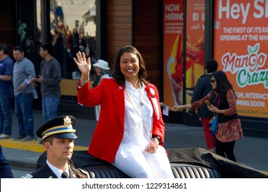 San Francisco, CA - November 11, 2018: Mayor London Breed in the Veterans Day Parade in downtown San Francisco, marking the 100th anniversary of the end of World War One.