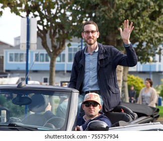 San Francisco, CA - November 12, 2017: Senator Scott Wiener honoring the service and sacrifice of our Armed Forces by participating in the 97th Annual Veterans' Day Parade in downtown San Francisco