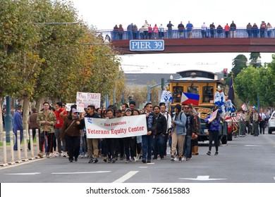 San Francisco, CA - November 12, 2017: Unidentified participants honor the service and sacrifice of our Armed Forces downtown San Francisco participating in the 97th Annual Veterans' Day Parade