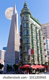 SAN FRANCISCO, CA - November 14, 2015 - 2015 - Columbus Tower, Sentinel Building in copper-green Flatiron architectural style on Columbus Street in San Francisco and the Transamerica Pyramid building.