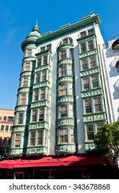 SAN FRANCISCO, CA - November 14, 2015 - Columbus Tower, Sentinel Building in copper-green Flatiron architectural style on Columbus Street in San Francisco.