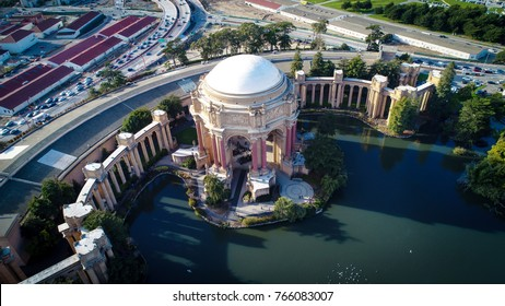 San Francisco, CA - November 18, 2017: An aerial drone view of the Palace of Fine Arts Theatre.