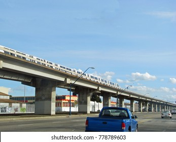 SAN FRANCISCO, CA - NOVEMBER 18: Monorail is moving on track under blue sky 2012