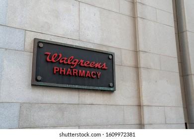 San Francisco, CA NOVEMBER 23, 2019: Walgreens Pharmacy sign outside of downtown location