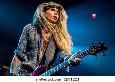 SAN FRANCISCO, CA - NOVEMBER 26, 2016: Steel Panther in concert at the Regency Ballroom in San Francisco, CA