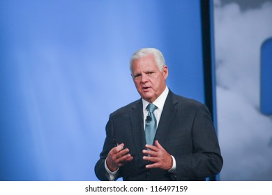 SAN FRANCISCO, CA, OCT 2, 2012 - EMC CEO  Joe Tucci makes speech at Oracle OpenWorld conference in Moscone center on Oct 2, 2012 in San Francisco, CA