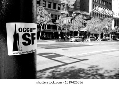 SAN FRANCISCO, CA, OCT 2, 2011 - Occupy San Francisco sticker placed on pole announces start actions of new public movement.