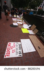 SAN FRANCISCO, CA, OCT 2 - Participants of Occupy San Francisco new public movement prepare banners in the Market street for their first protest march  Oct 2, 2011 in San Francisco, CA