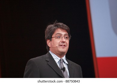 SAN FRANCISCO, CA, OCT 4 - Oracle senior vice president  Steve Miranda makes speech at OpenWorld conference in Moscone center on Oct 4, 2011 in San Francisco, CA