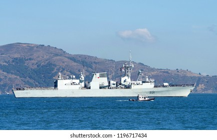 San Francisco, CA - October 05, 2018: HMCS Vancouver, a Halifax class frigate of the Royal Canadian Navy participating in the Parade of Ships in the 37th annual Fleet Week celebration.
