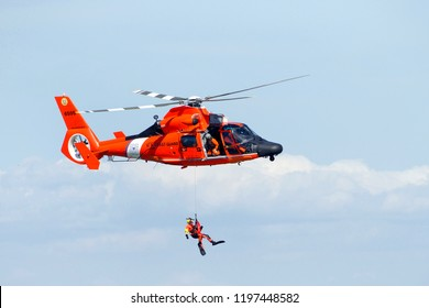 San Francisco, CA - October 05, 2018: Coast Guard helicopters perform rescue recreation performance and standby to assist in the 37th annual Fleet Week Air Show in San Francisco, California.