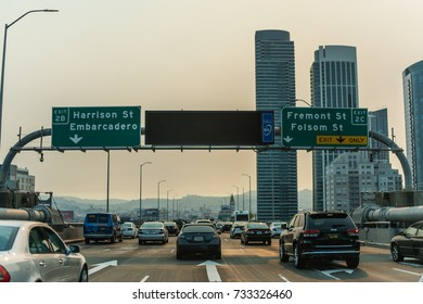 SAN FRANCISCO, CA - OCTOBER 12, 2017: Smoke from the Napa wildfires in Northern California's wine-country creates poor air quality in San Francisco.