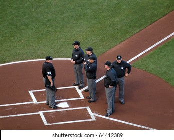 SAN FRANCISCO, CA - OCTOBER 20: The Head Umpire talks to five other umpires at homeplate before start of game 4 of the 2010 NLCS game between San Francisco Giants and Philadelphia Phillies on Oct. 20, 2010 in AT&T Park, San Francisco, CA.