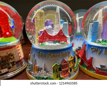 SAN FRANCISCO, CA - October 27, 2018. A San Francisco snow globe souvenir sold at a local Walgreen super store in downtown SF.