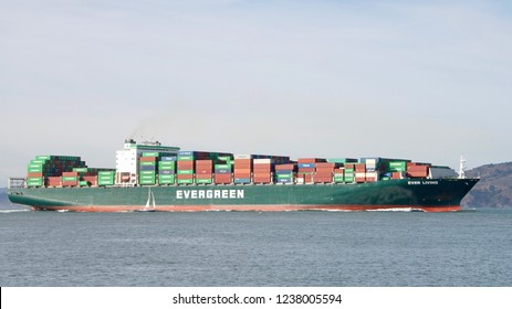 San Francisco, CA - October 27, 2018:  EVER LIVING in the San Francisco Bay. Evergreen Line is the unified common trade name for the 4 shipping companies of the Evergreen corporation.