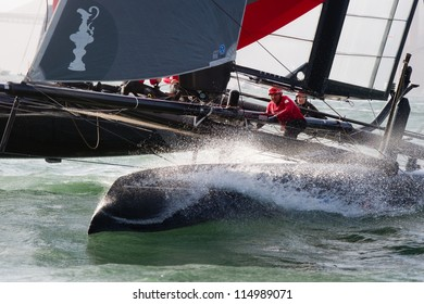 SAN FRANCISCO, CA - OCTOBER 4: Sweden's Artemis Racing Red sailboat skippered by Nathan Outteridge competes in the America'??s Cup World Series sailing races in San Francisco, CA on October 4, 2012