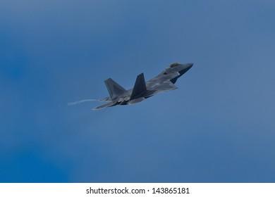 SAN FRANCISCO, CA - OCTOBER 5:  USAF F-22 Raptor aircraft demonstration during Fleet Week in San Francisco, CA on October 5, 2012
