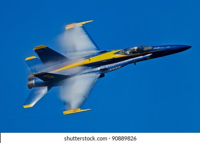 SAN FRANCISCO, CA - OCTOBER 7: US Navy Blue Angel, fly an F/A-18 Hornet in a show of precision flying and highest the level of pilot skills during Fleet Week on October 7, 2011 in San Francisco, CA.