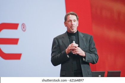 SAN FRANCISCO, CA, SEP 22 - CEO of Oracle Larry Ellison makes his speech at Oracle OpenWorld conference in Moscone center on Sep 22, 2010 in San Francisco. He is the third in the Forbes list of richest US persons