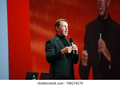 SAN FRANCISCO, CA - SEP 22, 2010: CEO of Oracle Larry Ellison makes his speech at Oracle OpenWorld conference in Moscone center on Sep 22, 2010. He is the third in  Forbes list of richest US persons