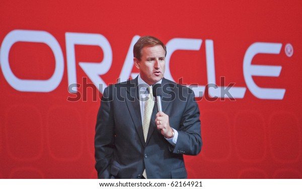 SAN FRANCISCO, CA, SEP 22 - Oracle president Mark Hurd makes speech at Oracle OpenWorld conference in Moscone center on Sep 22, 2010 in San Francisco. It was his first public event since shameful firing from HP's CEO