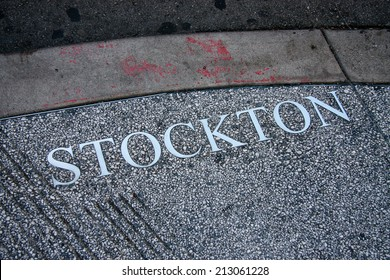 SAN FRANCISCO, CA, SEPT 20, 2010 - Stockton Street title engraved in pavement on Sept 29, 2010 in San Francisco. Stockton is home to numerous stores near the Union Square and Chinatown