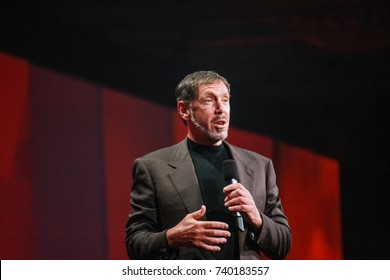 SAN FRANCISCO, CA - SEPT 24, 2008: CEO of Oracle Larry Ellison makes his speech at Oracle OpenWorld conference in Moscone center on Sept 24, 2008.