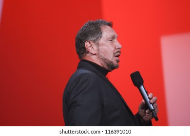 SAN FRANCISCO, CA, SEPT 30, 2012 - CEO of Oracle Larry Ellison makes his first speech at Oracle OpenWorld conference in Moscone center on Sept 30, 2012. He is onet of richest US persons
