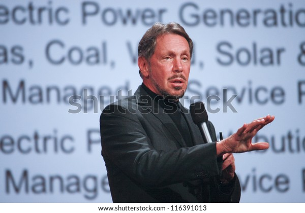 SAN FRANCISCO, CA, SEPT 30, 2012 - CEO of Oracle Larry Ellison makes his first speech at Oracle OpenWorld conference in Moscone center on Sept 30, 2012. He is one of richest US persons
