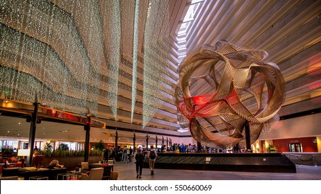 SAN FRANCISCO, CA - September 02, 2014: The sculpture Eclipse in the lobby of Hyatt Regency Hotel.  Eclipse is an anodized aluminum sculpture realized in 1973 by the artist Charles O. Perry