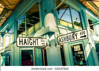 SAN FRANCISCO, CA - September 21, 2015: Haight Ashbury street sign junction corner in California, USA
