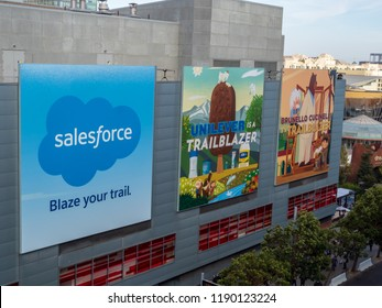 SAN FRANCISCO, CA September 26, 2018: Salesforce with Unilever and Brunello Cucinelli billboards hanging in downtown San Francisco for Dreamforce conference
