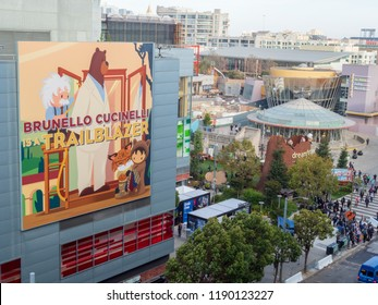 SAN FRANCISCO, CA September 26, 2018: Brunello Cucinelli billboard hanging near conference entrance in downtown San Francisco for Dreamforce conference