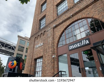 San Francisco Ca September 30 2018:Firefox Mozilla Internet Browser software company located at Embarcadero with Bay Bridge view.