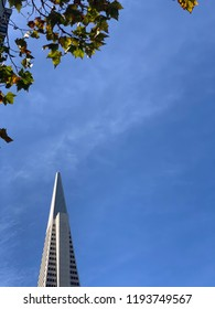 San Francisco Ca September 30 2018:View of pyramid tip of the TransAmerica Building ,landmark of San Francisco