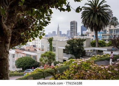 SAN FRANCISCO, CA - SEPTEMBER 9, 2017: The skyline from San Francisco as soon from Lombard Street - San Francisco, CA
