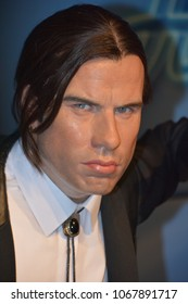 SAN FRANCISCO CA USA 04 15 15: John Travolta kill Bill wax figure in exhibition at the Madame Tussauds Wax Museum in San rancisco Landmark of  Madame Tussauds exhibits wax figures of famous people