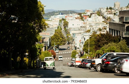San Francisco, CA / USA - 05/10/17: The view on street from the hill in San-Francisco.