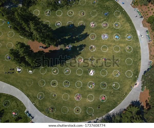 San Francisco, Ca / USA 05/21/2020 Social Distancing Circles at Washington Square Park