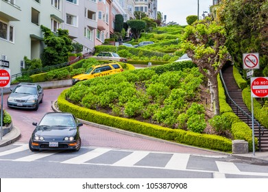 San Francisco, CA, USA - April 4, 2013: Lombard Street in San Francisco, California, USA, famous for its steep, one-block section with eight hairpin turns.