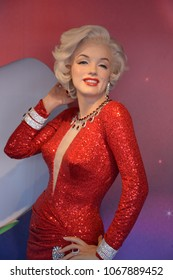 SAN FRANCISCO CA USA APRIL 15 2015:  Marilyn Monroe wax figure in exhibition at the Madame Tussauds Wax Museum in San rancisco Landmark of  Madame Tussauds exhibits wax figures of famous people