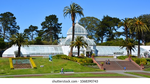 SAN FRANCISCO CA USA APRIL 13  2015: The Conservatory of Flowers building at the Golden Gate Park in San Francisco. It is one of the largest conservatories built of traditional wood and glass