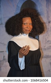SAN FRANCISCO CA USA APRIL 15 2015: Whoopi Goldberg wax figure in exhibition at the Madame Tussauds Wax Museum in San rancisco Landmark of  Madame Tussauds exhibits wax figures of famous people