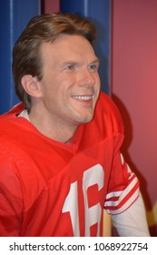 SAN FRANCISCO CA USA APRIL 15 2015: Joe Montana wax figure in exhibition at the Madame Tussauds Wax Museum in San Francisco Landmark of  Madame Tussauds exhibits wax figures of famous people