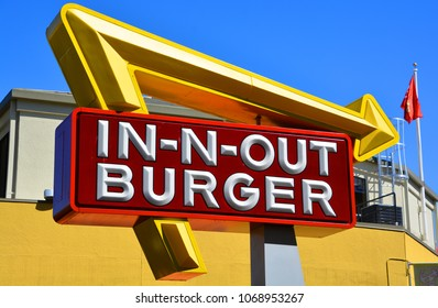 SAN FRANCISCO CA USA APRIL 15 2015:  Sign of In-N-Out Burger is an American regional chain of fast food restaurants with locations primarily in the American Southwest and Pacific coast.