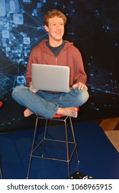 SAN FRANCISCO CA USA APRIL 15 2015: Mark Zuckerberg wax figure in exhibition at the Madame Tussauds Wax Museum in San Francisco Landmark of  Madame Tussauds exhibits wax figures of famous people