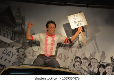 SAN FRANCISCO CA USA APRIL 15 2015: Harvey Milk wax figure in exhibition at the Madame Tussauds Wax Museum in San Francisco Landmark of  Madame Tussauds exhibits wax figures of famous people